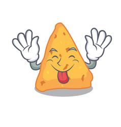 Tongue out nachos mascot cartoon style vector
