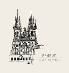 travel card with black sketch drawing church vector image
