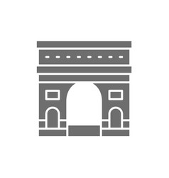 Triumphal arch france landmark grey icon vector