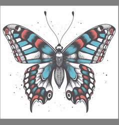 Tropica butterfly with shadow tattoo butterfly vector