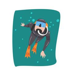 Underwater scuba diver in black wetsuit mask vector