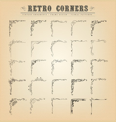 Vintage old-fashioned corners borders and frames vector