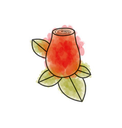 Watercolor drawing of red rosebud with leaves vector