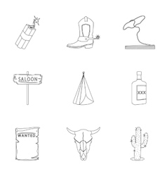 Wild west set icons in outline style Big vector image vector image