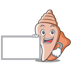 with board cute shell character cartoon vector image