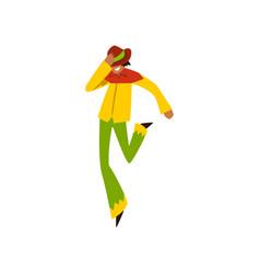 Young man dancing samba at brazil carnival male vector