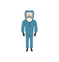 Young man in blue protective costume gas mask and vector