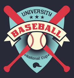 baseball vintage poster with shield stars vector image