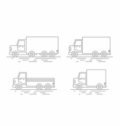 commercial van icons set line icon vector image vector image