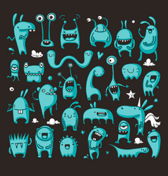 Doodle monster collection vector
