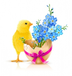 Easter holiday illustration with chicken vector image vector image