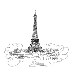 Pariscityscape with Eifel Tower Sketch for your vector image vector image