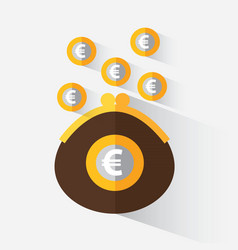 purse with euro vector image