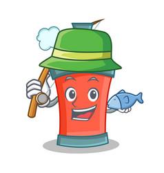 fishing aerosol spray can character cartoon vector image vector image