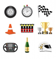 race objects icons vector image vector image