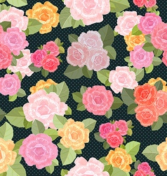 retro seamless texture with roses vector image vector image