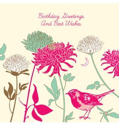 Vintage Floral Birthday Card vector image