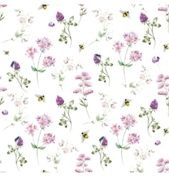 Watercolor wildflower pattern vector image