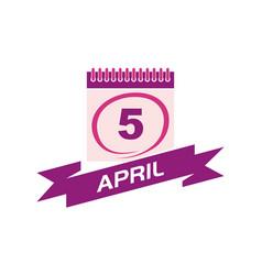 5 april calendar with ribbon vector image