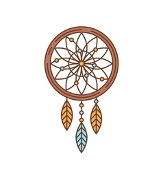 Flat dreamcatcher thin lined icon Indian symbol vector image