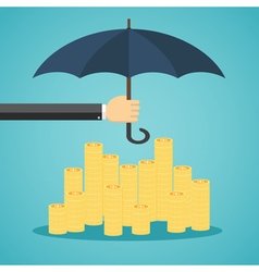 Hand holding umbrella to protect money vector image vector image