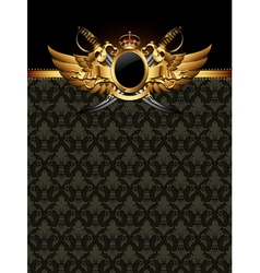 ornate golden frame with sabers vector image vector image