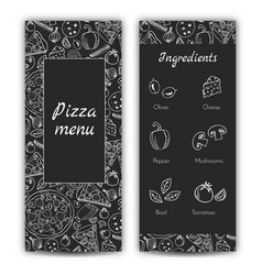 pizza menu doodle style vector image vector image