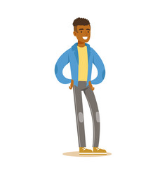 Smiling casual young african man in blue jacket vector