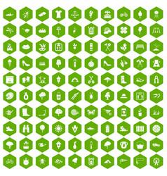 100 spring icons hexagon green vector