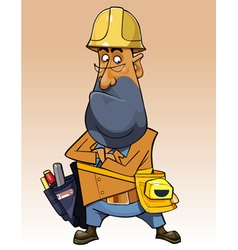 cartoon man with helmet and tools vector image vector image