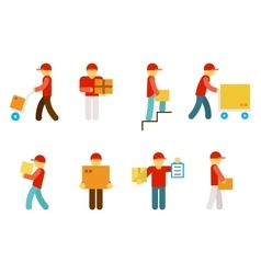 Delivery man icons vector image