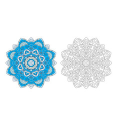 flower mandala coloring page vector image