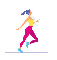 young woman in sportswear running morning running vector image