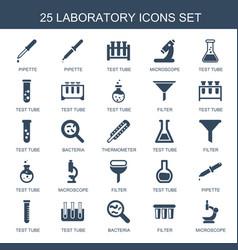 25 laboratory icons vector image