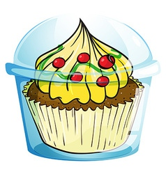 A cupcake inside the container vector image