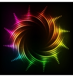 Abstract rainbow neon spirals cosmic frame vector
