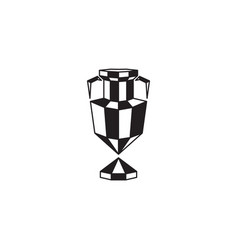 abstract winner cup icon with chessboard texture vector image