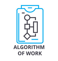 Algorithm of work thin line icon sign symbol vector