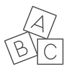 Alphabet cubes thin line icon abc vector