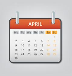 April 2018 calendar concept background cartoon vector