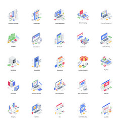 Banking and business isometric pack vector