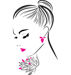 Beautiful girl with long eyelashes in pink vector