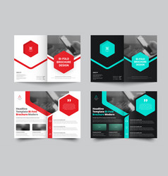 Bi-fold brochure for with a place for photos and vector