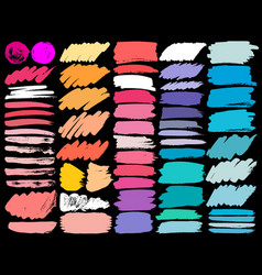 big set of colorful brush strokes vector image