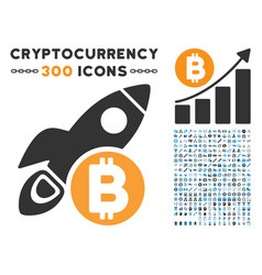 bitcoin rocket flat icon with clip art vector image