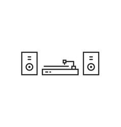 black thin line vinyl player icon vector image