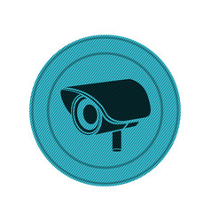 Blue circular frame with exterior video security vector