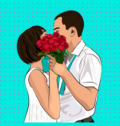 Bride and groom kiss in love couple vector
