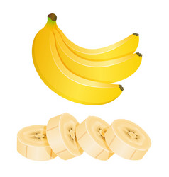 Bunch of three bananas and sliced banana pieces vector