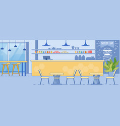 burger bar interior room with counter table chairs vector image